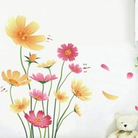 Stickers muraux Fleur de style pastoral Dragonfly Garden Decal Sofa TV Fond coloré Art Mural Décor de maison Decal 3hl F R