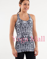 Wholesale Sleeveless T Shirt Women - 2017 Summer Woman Girl Lulu Racerback with Logo Yoga Tops Tees no Built Tanks America Women t shirts tops Sportswear Casual Tees
