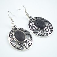 Wholesale E024 Oval Turquoise Stone Lava Rock Volcano Stone Earring Pair Vintage Look Alloy Tibet Antique Silver Jewery
