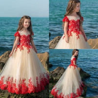 Wholesale Gown Designs For Kids - Design Red Flower Girls Dresses For Weddings Ball Gown Short Sleeve Tulle Kids First Communion Dress Lace Appliqued Cheap Pageant Gowns