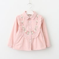 Wholesale Western Embroidered Shirt - Everweekend Girls Striped Floral Embroidered Autumn Shirt Vintage Korea Western Fashion Baby Blouse Lovely Kids Clothing