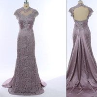 Wholesale Winter Grey Wedding Gowns - 2018 Lace Silver Grey Sheer Mother Of The Bride Dresses Gray Cap Sleeve Mermaid Backless Evening Party Gowns Vintage Wedding Guest Dress