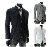 Wholesale Types Coat Designs - 2017 new men suit asymmetric design type of cultivate one's morality small suit jackets men's suit coat size M-XXL