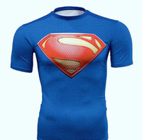 Wholesale Superman Shirt Men - 2017 new Superman t-shirt tights men United States captain sports fitness short-sleeved fast dry sweat effect good quality assurance