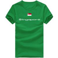Wholesale Singapore Flag - Singapore T shirt Fitness gym sport short sleeve Keep fit casual tees Nation flag clothing Unisex cotton Tshirt
