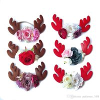 Wholesale united coffee - 6 colors baby girl Europe and the United States children's Christmas hair accessory Elk horn coffee red hair band Flower Headband free