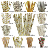 Wholesale Disposable Party - Wholesale-25pcs lot Foil Gold Silver Paper Straws For Birthday Party Decorations Kids & Wedding Decoration Party Supplies Creative Straws