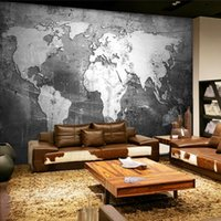 Wholesale Custom Mural Wallpaper Retro Nostalgia Personalized World Map Wall Paper Living Room TV Bar Cafe Backdrop Wallpaper Ho