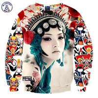 Wholesale 3d theater - Hip Hop New arrivals Men women's 3d sweatshirts print Beijing opera Theater actors crying Tattoo lady hoodies pullovers