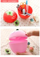 Wholesale Storage Paper Baskets - 1PC Creative trend Cute Mini desktop trash Korean sweet strawberry shake cover quality storage buchet waste bins OK 0192