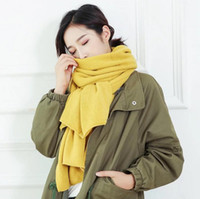 Wholesale Large Wool Pashmina - Winter Warm Womens Scarf Plain Color Large Long Wool Knitted Pashmina Neck Wraps Shawl Blanket 200cm*30cm