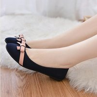 Wholesale Darling Dresses - Wholesale- KLV 2017# Women Spring Bowknot Single Shoes Flat Leisure Sweet Darling Students Shoes Non-Slip Work Comfortable Women Shoes