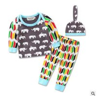 Wholesale Elephant Clothes Suit - Baby Outfits 2017 Summer Elephant Geometric Boys Clothing Sets Three Piece Suits Infant Toddler Cotton Outwear Sets Ins Baby Boys Clothes