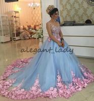 meninas masquerade vestidos de baile venda por atacado-Azul bebê 3D Floral Masquerade Ball Gowns Catedral Trem Handmade Flor Debutante Quinceanera Vestidos Sweety Meninas 15 Anos Vestido