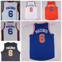 Wholesale Best Hot Mans - Best Quality 6 Kristaps Porzingis Uniforms Rev 30 New Maternal Kristaps Porzingis Jersey Shirt Team Color Blue White Orange Black Hot Men