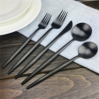Wholesale Piece Flatware - 5 Piece Black Dinner Tableware Set Customized Stainless Steel Flatware Set for Home Kitchen Restaurant Hotel Free Shipping
