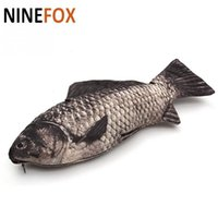 Wholesale fishing like - Wholesale- Funny Stylish Fish-like Artificial Fish Style Zipper Stationery Wallet Cosmetic Make Up Bag Pouch Supplies Makeup Bag