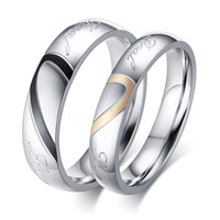 Wholesale Color Fade Ring - Sale New Never Fade size 4-15 Fashion Titanium steel silver color Real Love jewelry Engravable Women & Men wedding Couple Rings