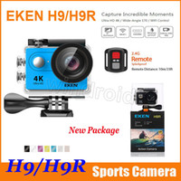Wholesale Wifi Box Camera - Action camera Original EKEN H9 H9R with remote control Ultra HD 4K WiFi HDMI 1080P 2.0 LCD 170D pro Sports camera waterproof with retail box