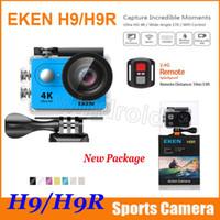 câmera de esporte hdmi venda por atacado-Câmera de ação Original EKEN H9 H9R com controle remoto Ultra HD 4 K WiFi HDMI 1080 P 2.0 LCD 170D pro Câmera esportiva à prova d 'água com caixa de varejo