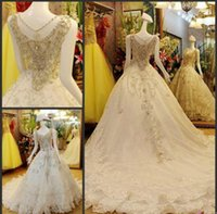 Wholesale Embroidery Swarovski Crystals - 6kgs bride dress Swarovski Crystal Beaded Empire ball gown wedding dresses Sweetheart Necklace Cathedral Train Dresses DHL free shipping