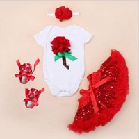 Wholesale Valentine Outfits - baby clothes summer girls clothing sets infant 3d rose romper + flower headbands + sequin tutu skirt + shoes valentines day outfit birthday
