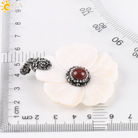 Pendant Necklaces carved shell flower - CSJA Women Carved Shell Jewelry cm Flower Petal Shaped Natural Jade Gemstone Bead Charms Necklace Pendant Rhinestone Beads Jewellery E208