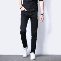 Wholesale Wholesale Jeans Pants - Wholesale- New Arrival Skinny Mens Jeans Black Denim Jeans Pants Korean Style Fashion Slim Fit Stretch Male Jeans Summer Casual Boys Pant
