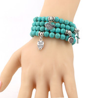 Wholesale bracelet accessories for sale online - 2017 Fashion Turquoise beads bracelets with Tree Owl dolphin Cross palm Charm bangle Bracelets For men women Jewelry Accessories Hot sale