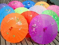 Wholesale White Umbrella Parasol Silk - Free shipping 50pcs lot assorted colors traditional Chinese silk parasol,wedding umbrella for bride and gifts