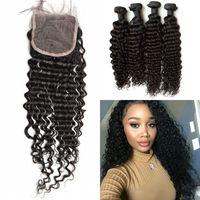 Wholesale Deep Wave Human Hair 5pcs - Malaysian Virgin Hair With Closure 5pcs Lot Deep Wave Human Hair Curly Weaves Closure Shedding Free G-EASY