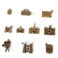 Charms European Beads Coin Hot- 48 pcs Vintage Charms Mixed Phone and Camera Pendant Antique bronze Fit Bracelets Necklace DIY Metal Jewelry Making