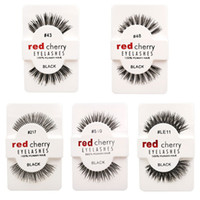 Wholesale Human Hair False Lashes - False Eyelashes 100% Human Hair Eye lashes Red Cherry Makeup Beauty Wholsale