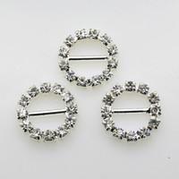 düğün kaydırıcıyı elmas taklidi toptan satış-Fabrika Fiyat 100 adet Için 10mm Bar Temizle Yuvarlak Rhinestone Tokalar Düğün Davetiyesi Diamante Şerit Kaymak Toptan
