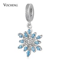 Wholesale Cz Blue Pendant - Snowflake Charms Beads Pendant with Luxury CZ Stone Brass Material 3 Colors DIY Jewelry Vn-1730