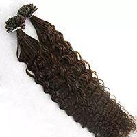 cabelo virgem real virgem venda por atacado-150 s 1g / s Brasileira Virgem Extensões de Cabelo de Fusão Profunda Curly Humano Real # 2 # 4 # 6 Queratina Prego U Ponta Extensão Do Cabelo