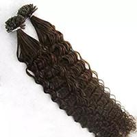 fusión de queratina, extensión brasileña del cabello al por mayor-150s 1g / s extensiones brasileñas de la virgen de la fusión del pelo pelo humano rizado profundo # 2 # 4 # 6 extensión del pelo de la extremidad del clavo de la queratina U