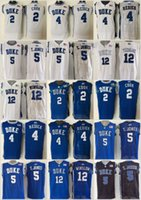 Jones Azul Baratos-Duke Blue Devils 5 Tyus Jones Jerseys de baloncesto Hombres universitarios 12 Justise Winslow 2 Quinn Cook 4 JJ Redick Azul Blanco Negro Cosido 44-56