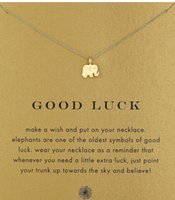 Wholesale Good Luck Elephant - With card! Silver and gold color cute Dogeared Necklace with elephant pendant(good luck elephant), no fade, free shipping and high quality.