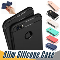 Wholesale Dust For Iphone - Slim Soft TPU Silicone Case Cover Candy Colors Matte Phone Cases Shell with Dust Cap For iPhone X 8 7 6 6S Plu 5S