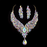 Wholesale Party Wigs Set - Bridal Wedding jewelry set Aurora color rhinestone cubic for women's party necklace earrings set peacock wig crystal AB jewelry