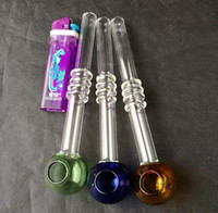 Wholesale water pipes e shisha for sale - Group buy Glass Smoking Pipes tube transparent Curved Bent Oil Burners glass Pipes Water Pipe E Shisha