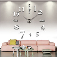 Wholesale Watches Mirrors Wall - 2016 new arrival Quartz clocks fashion watches 3d real big wall clock rushed mirror sticker diy living room decor free shipping