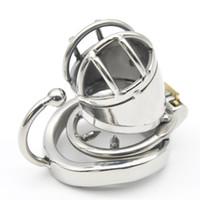 dispositivo de castidad masculina jaula pequeña al por mayor-Jaula pequeña de castidad masculina de acero inoxidable con dispositivos de anillo de arco base C271-1