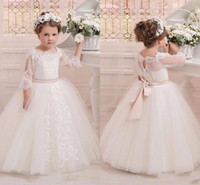 Wholesale cheap pink belt for dress - Vintage 3 4 Sleeves Appliques Ball Gown Flower Girls Dresses For Weddings 2017 Belt Formal Girl's Pageant Gowns Communion Dress Cheap
