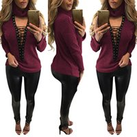 Wholesale Loose Tanks For Girls - Women Sexy Deep Lace Up V neck T Shirt High Neck Long Sleeve Blouses For Ladies Girls Autumn Causal Loose Long Tank Clothes