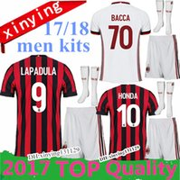 Wholesale Set Freeshipping - 10 set FREE DHL 2017 men kits + Socks soccer Jersey Top quality 17 18 AC milan JerseyS MENEZ BONAVENTURA BACCA BERTOLACCI football shirts