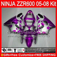 Wholesale Purple Ninja - 8Gifts 23Colors Body For KAWASAKI NINJA ZZR 600 05 06 07 08 32NO129 600CC ZX600 ZZR600 05 ZZR-600 2005 2006 2007 2008 Purple Fairing kit
