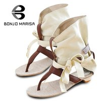 Wholesale Fabric Chic - Wholesale-Big Size 34-43 Fashion Women Gladiator T straps Flat Heel Sandals Summer Shoes 2015 Brand New Casual Dress Chic Sandals SA125