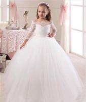 faja de pascua al por mayor-Vestidos de la primera comunión para niñas de 2020 Vestidos de niña de flores de Iovry con encaje lindo y blanco para las bodas Niños Vestido de fiesta